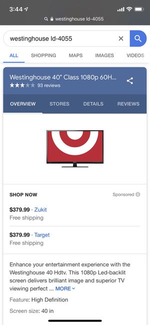 """Westinghouse """"40 inch tv for Sale in Schaumburg, IL"""