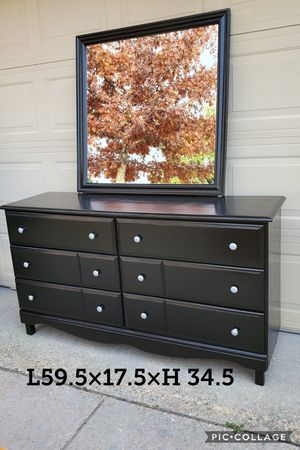 Dresser TV media entryway table refinished black and silver pulls for Sale in Cedar Hill, TX