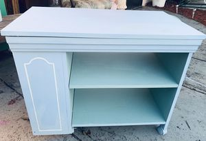 Sky Blue Stand Table With Glass Cabinet Shelves & Wheels for Sale in West Park, FL