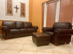 Robinson and Robinson brand Real Leather Couch and Chair Set with Ottoman no rips or tears for Sale in Homestead, FL
