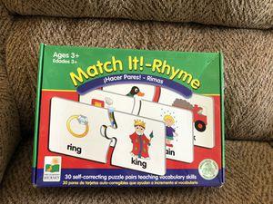 Match it Rhyme puzzle pairs game for Sale in St. Peters, MO