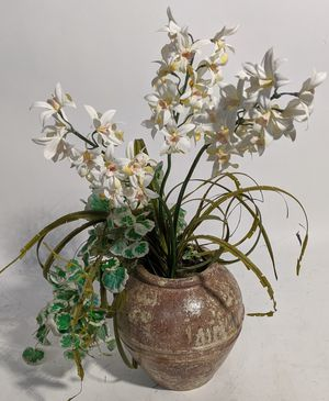 Silk Orchid Floral Arrangement in Rustic Pot for Sale in Tampa, FL
