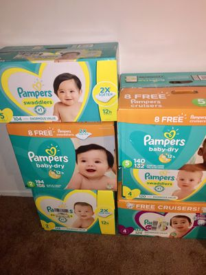 Pampers ALL SIZES huge value for Sale in Baltimore, MD