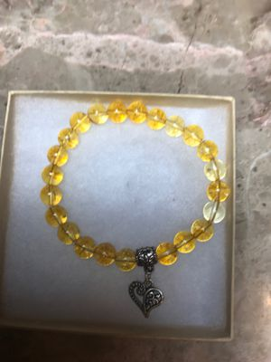 Citrine semiprecious gemstone stretch bracelet with heart charm. 8 inches for Sale in Stockton, CA