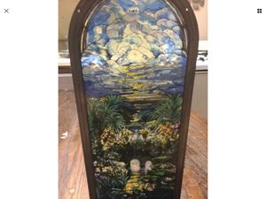 Antique Asian Stain Glass -SKY -FLOWERS -BRIDGE - 16X7 -Heavy Glass Gorgeous for Sale in Monroeville, PA