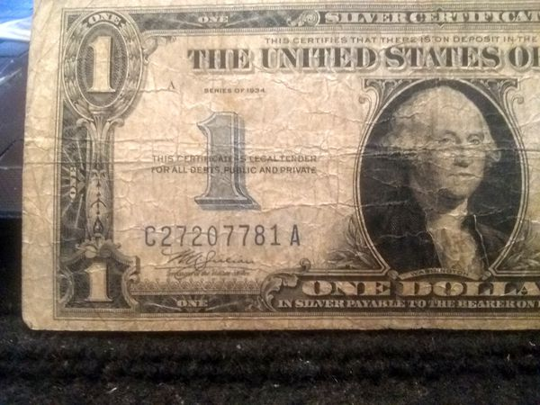 Antique US Silver Certificate $1.00 Bill
