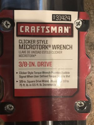 Craftsman Microtork Wrench 3/8 inch only used once for Sale in Silver Spring, MD