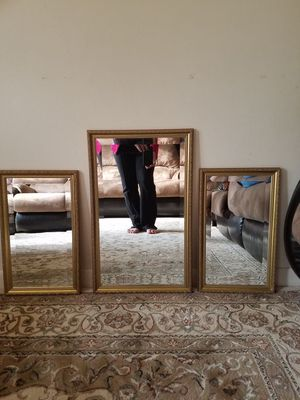 3 Pieces Gold Crystal Mirrors for Sale in Harrisonburg, VA