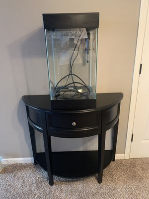 15 Gal. Fish Tank/ Black Half Moon Table for Sale in Wichita, KS