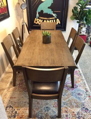 Live Edge dining table set with 6 leather chairs brand new for Sale in San Diego, CA