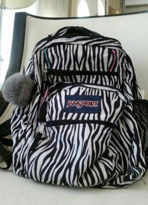 Black/White Zebra Print JANSPORT Back Pack Backpack Book Bag + Zippered Compartments Pockets Storage Organizer for Sale in Monterey Park, CA