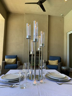 "30"" Silver Cluster Candle Holder w/ Glass Shade Wedding Centerpiece Arrangement for Sale in Wilmington, CA"