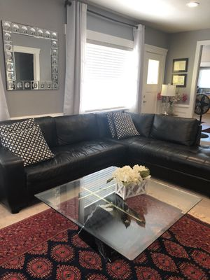 Real Leather-Black Sectional Sofa for Sale in Fremont, CA
