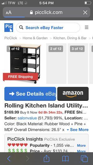 Rolling kitchen island for Sale in Hesperia, CA