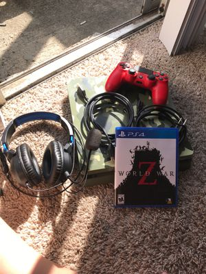 Gaming system, remote control, gaming headphones, and world war z game for Sale in Baytown, TX