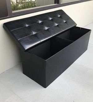 New in box 43x15x15 inches foldable storage ottoman toys clothes storage seating black brown or grey for Sale in San Dimas, CA