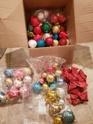 Lot 80+ Christmas decorations glass ball ornaments red bows gold blue for Sale in Martinsburg, WV