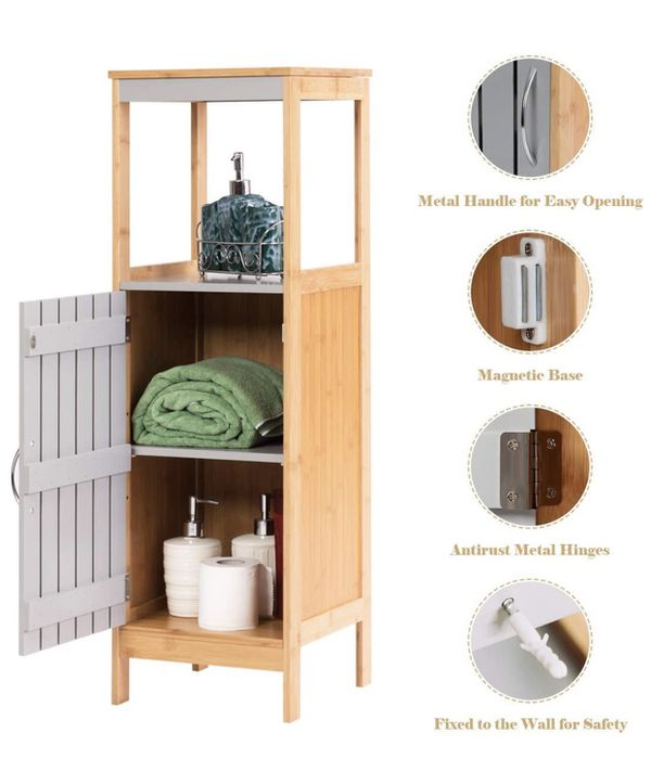 "Tangkula Bathroom Floor Cabinet, Freestanding SingBamboo 3-Tier Storage Organizer Unit (12""x12""x38"")"