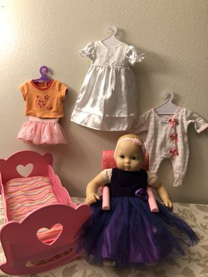 American Girl bitty baby set👧🏻🛍🎁🎀bitty baby doll + chair + music bed + clothes🎀🎁 for Sale in Everett, WA