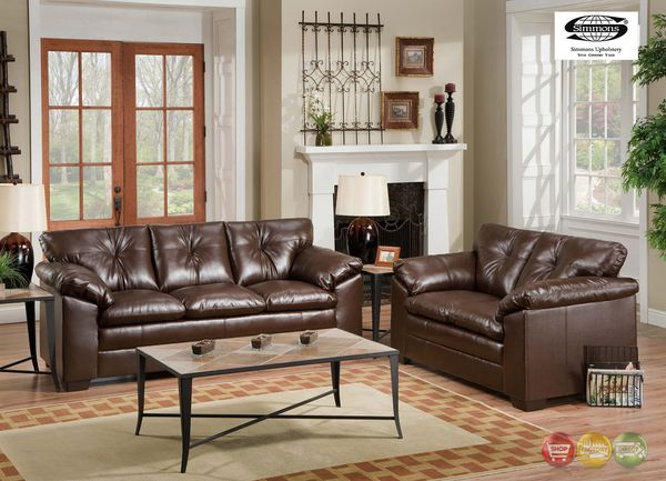 Brown Faux Leather Sofa and Loveseat NEW