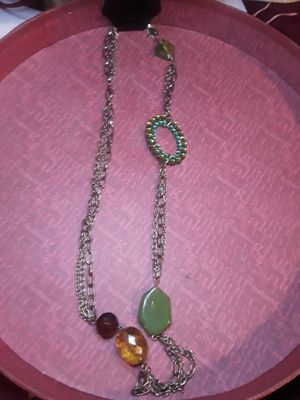 NWT Green and Gold long Hanging Chain Necklace for Sale in Piscataway, NJ