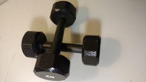 Set of 2 black hexagon 5 lb dumbbell weights for Sale in Columbus, OH