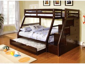 Twin/full bunk bed on sale 🎈🎈🎈🎈🎈the Trundle is I've shown is not including for Sale in Fresno, CA