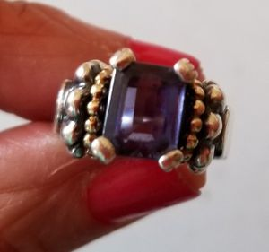 LAGOS CAVIAR IOLITE STERLING 18K RING SZ5 for Sale in Concord, MA
