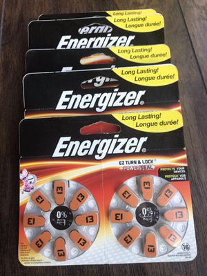 16 PACK ENERGIZER EZ Turn & Lock Powerseal Size 13 Hearing Aid Batteries Lot of 5. Brand New. Never Used. Never Opened. Long Lasting. Great Deal. for Sale in Bethesda, MD