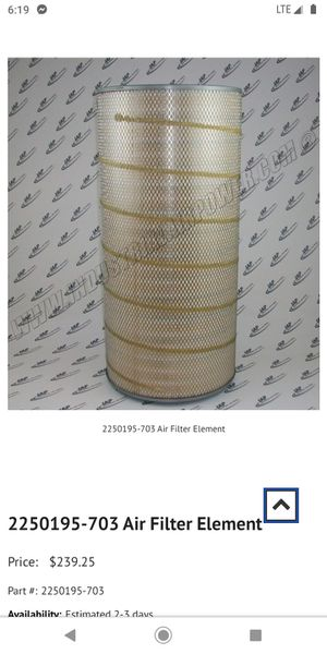 Solaire optimal air filter part number 02250 195 - 703 for Sale in North Kansas City, MO