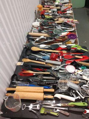 Lots of kitchen utensils forks spoons knives spatulas measuring cup cheese grater cutters for Sale in Hyattsville, MD