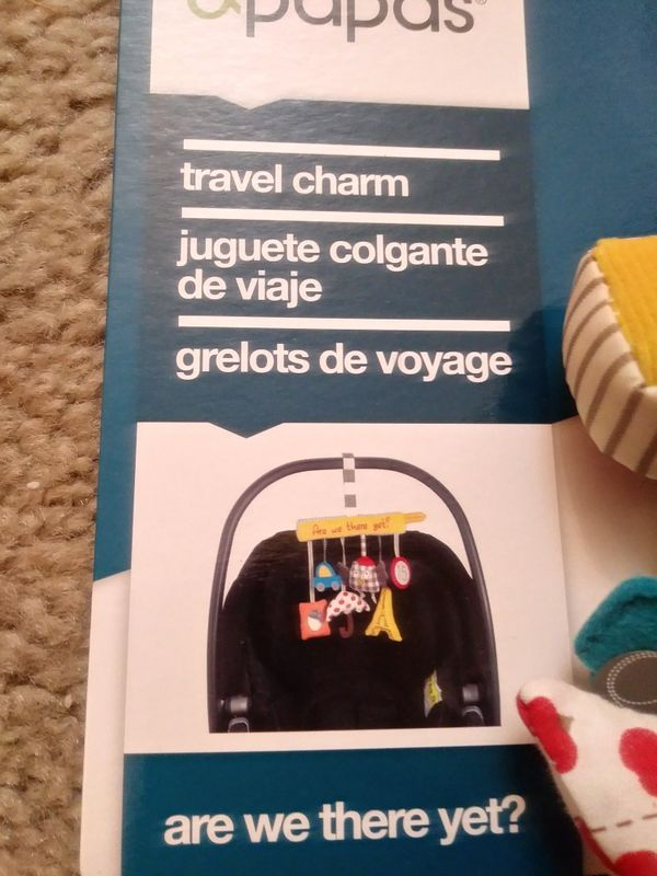Mamas and Papas Travel Charm Rattle Soft Carseat Toy. Mamas and Papas Stroller Rattle Toy for Babies