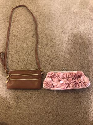 Small brown hand bag and pink clutch for Sale in Gilbert, AZ