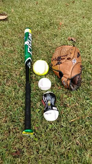 Easton softball bat, glove and balls for Sale in Clayton, NC
