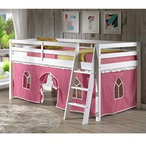 Twin Junior Loft Bed with Pink Curtain for Sale in Corona, CA