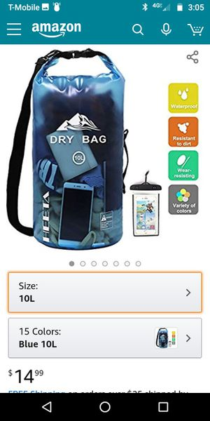 HEETA Waterproof Dry Bag 10L Roll Top Lightweight Dry Storage Bag Backpack with Phone Case for Travel, Swimming, Boating, Kayaking, Camping Beach for Sale in West Hills, CA