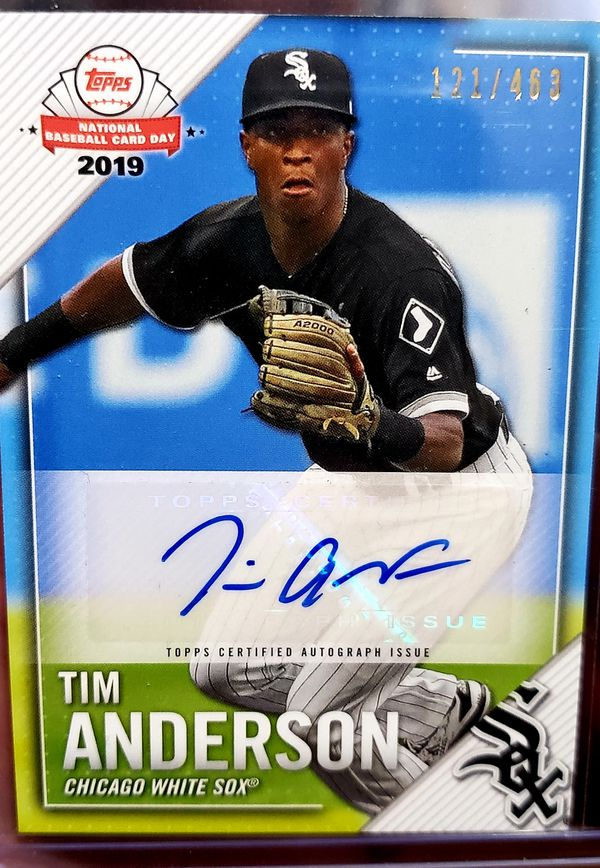 Tim anderson topps national card day autographed card