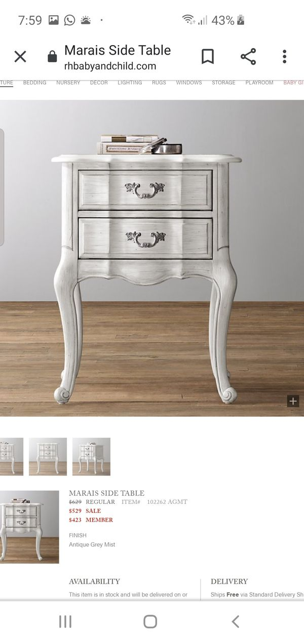 Restoration Hardware MARAIS Collection dresser side table and bookcase READ ALL BEFORE MESSAGING