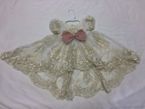 Flower Embroidery netted wedding & party dress with veil and head tie for baby girl (6-9months) for Sale in Raleigh, NC