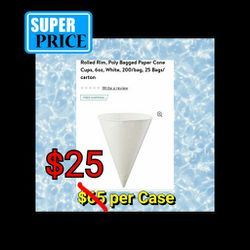 NEW : Case Lot 6oz Paper Snow Cone Water Cooler Cups: 25 bags / 200 ct for Sale in Burlington,  NJ