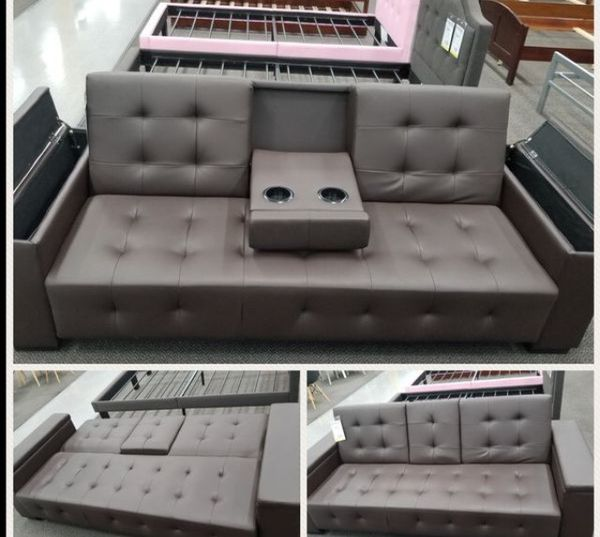 New leather futon with adjustable drink holder