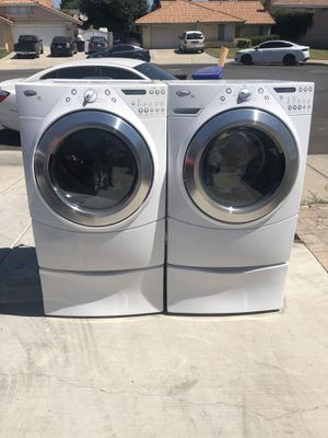 Whirlpool duet washer and dryer gas heavy duty super capacity plus good condition deliver and installation available for Sale in Bloomington, CA