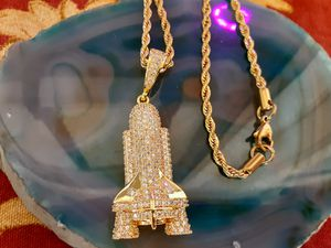 "14k Gold Iced Out Space Shuttle Launch 🚀 Pendant Genuine Diamond Simulate Stones Micro Pave with 24"" Rope Chain (We Ship!📦📬‼) for Sale in Chandler, AZ"