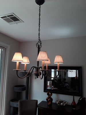 DINING ROOM CHANDELIER w/ 5 Lights, 2 Styles of Shades for Sale in Las Vegas, NV
