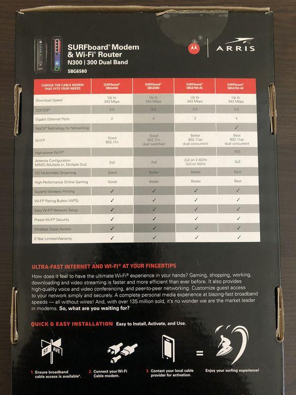Motorola Arris Surfboard Modem & WiFi Router SBG6580