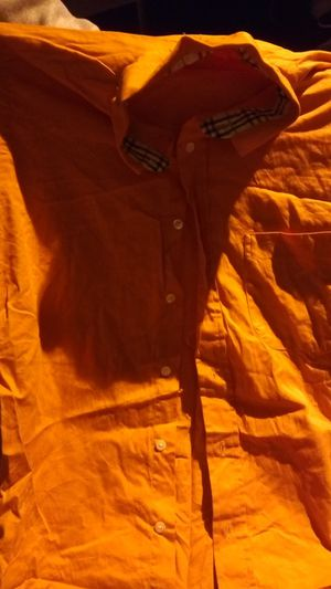 Burberry Orange button-up size medium for Sale in Bakersfield, CA