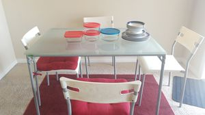 Glass dining table with pyrex containers for Sale in San Ramon, CA