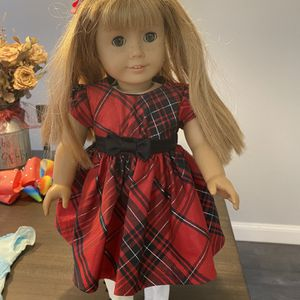 American Girl Doll In Red Plaid Shimmery Dress for Sale in Anaheim, CA