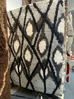 5x8 black white grey thick shaggy rug non shedding non slide high density carpet for Sale in Los Angeles, CA