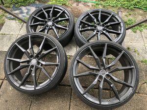 4 polished black wheels and tires for Sale in Alafaya, FL